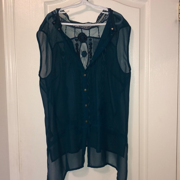 RW&CO Teal Blouse with Design and buttons